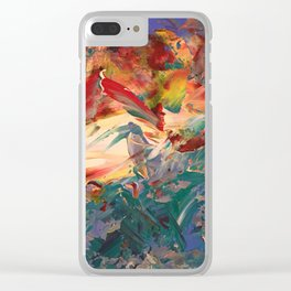 Bird in Expressionist Garden of Fire Clear iPhone Case