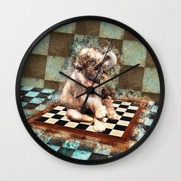 Baby Elephant on the chessboard digital art Wall Clock