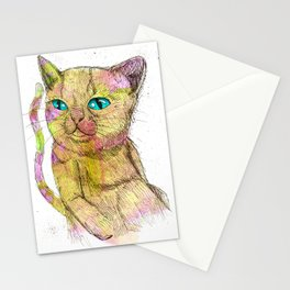 Coloured Cat Stationery Cards