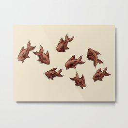 Coffee Bean Sharks Metal Print