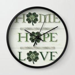 Home Hope Love Shamrock Wall Clock