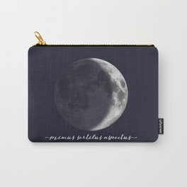 Waxing Crescent Moon on Navy Latin Carry-All Pouch