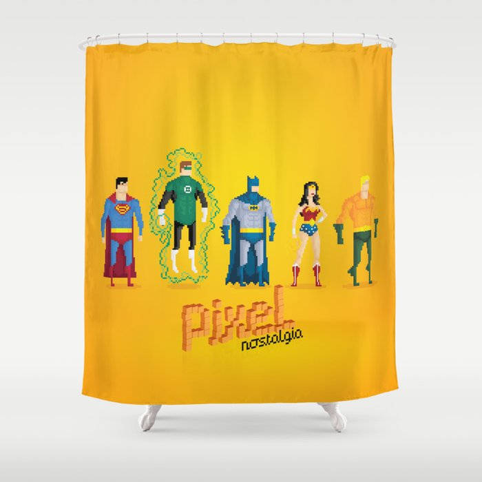 Justice League of America - Pixel Nostalgia Shower Curtain by boostudio | Society6