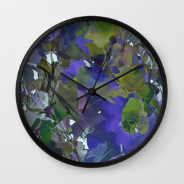 Violet Water Blossoms Wall Clock