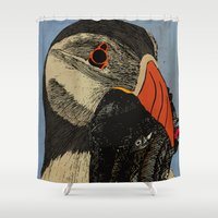 puffin Shower Curtains featuring Puffin  by EmilyGrantDesign