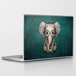 Cute Baby Elephant Dj Wearing Headphones and Glasses on Blue Laptop & iPad Skin