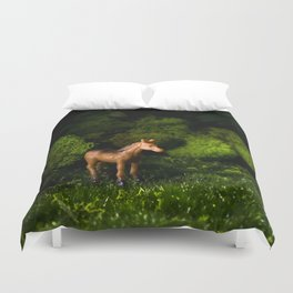 A Small Brown Horse in the Valley Duvet Cover