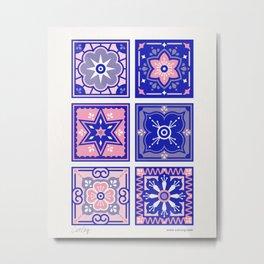 Talavera Mexican Tile – Pink & Periwinkle Palette Metal Print