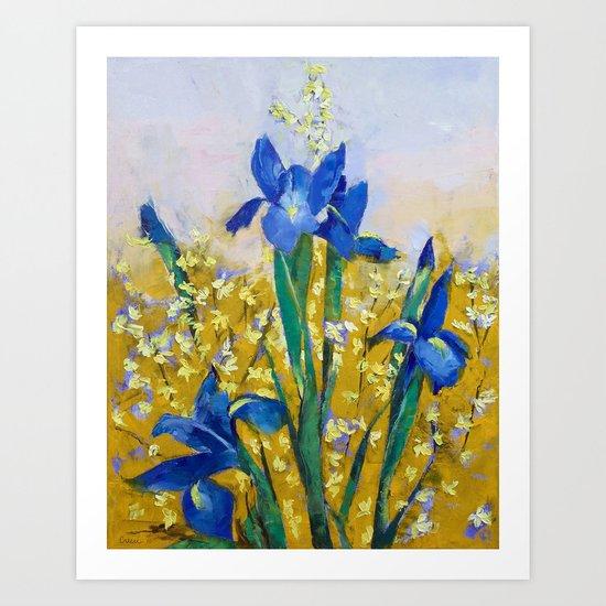 Iris and Forsythia Art Print