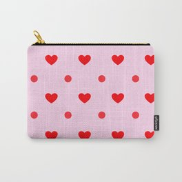 Pink & Red Heart Polka Dot Print Carry-All Pouch
