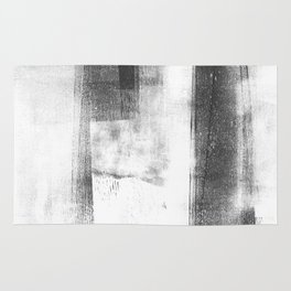 """Black and White Minimalist Geometric Abstract Painting """"Structure"""" Rug"""