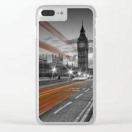 LONDON Westminster Bridge & Red Bus Clear iPhone Case