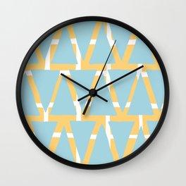 Blue and Yellow Arrowhead Print Wall Clock