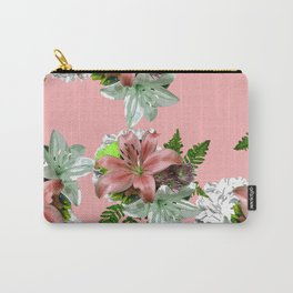 LILY PINK AND WHITE FLOWER Carry-All Pouch
