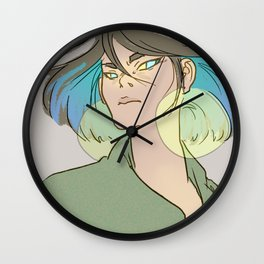 blue hair woman Wall Clock