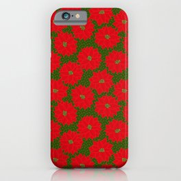 Festive Florals - Red Poinsettia on Green iPhone Case