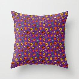 Purple Pumpkin Pattern Print Halloween Throw Pillow