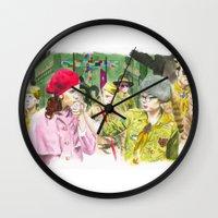 moonrise kingdom Wall Clocks featuring moonrise kingdom by jgart