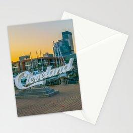 Cleveland City Skyline Harbor Print Stationery Cards