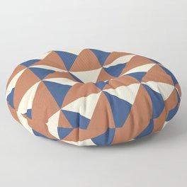 Rust + Blue Origami Geo Tile Floor Pillow