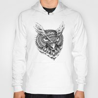 ornate Hoodies featuring Ornate Owl Head by BIOWORKZ