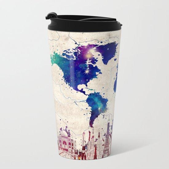 World map city skyline galaxy 2 metal travel mug by bekimart society6 gumiabroncs Image collections