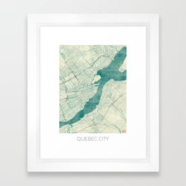 Quebec City Map Blue Vintage Framed Art Print
