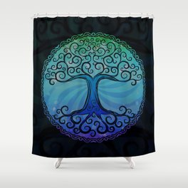 Tree of Life - Cool Blue Shower Curtain