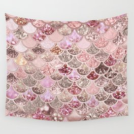 Rose Gold Blush Glitter Ombre Mermaid Scales Pattern Wall Tapestry