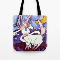 sylveon Tote Bags featuring Eeveevolution Series - Sylveon by Jazmine Phillips