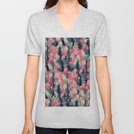 Coral pink navy blue mint green watercolor floral Unisex V-Neck