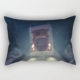 Heavy truck, by night, in the snow Rectangular Pillow