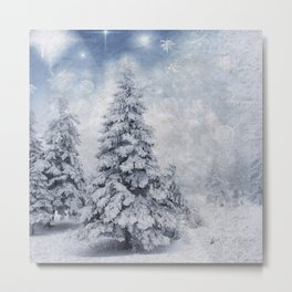 Winter scenery xmas tree Metal Print