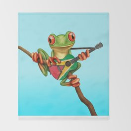 Tree Frog Playing Acoustic Guitar with Flag of Guyana Throw Blanket