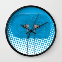 headphones Wall Clocks featuring Headphones by Miguel Villasanta