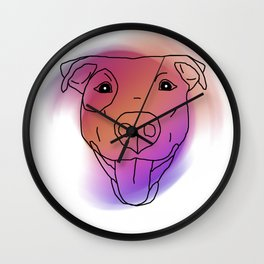Pitbull Face Watercolor Outline Wall Clock