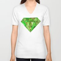 geode V-neck T-shirts featuring Peridot by Cat Coquillette