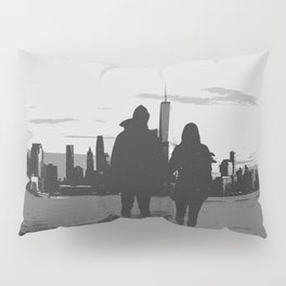 Couple Looking At New York City Skyline Artistic Black And White Pillow Sham