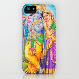 Radha Krishna Playing Flute Lakshmi Hindu Art Yoga Spiritual iPhone Case