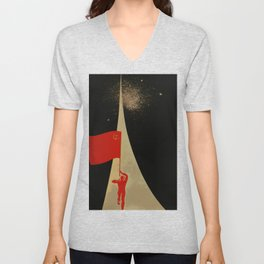 all the way up to the stars - soviet union propaganda Unisex V-Neck