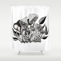 friendship Shower Curtains featuring Mushroom Friendship by menis_art