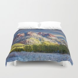 First Snow Maroon Bells Duvet Cover