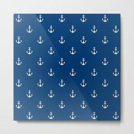 Blue Anchors Pattern Metal Print