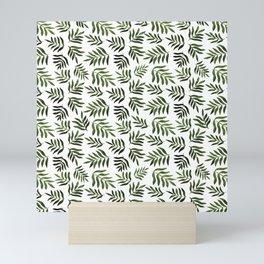 Watercolor branches pattern - sap green Mini Art Print
