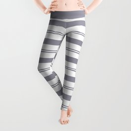 Pantone Lilac Gray and White Stripes, Wide and Narrow Horizontal Line Pattern Leggings