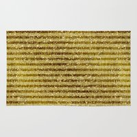 gold glitter Area & Throw Rugs featuring Gold Glitter Stripes  by Zen and Chic