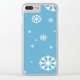 Snowfall Xmas Blue Clear iPhone Case