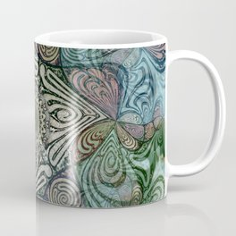 Labyrinth Mandala Blue Green Grey Coffee Mug