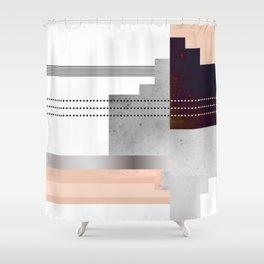 Speckled Polygon Dot Stripe Shower Curtain