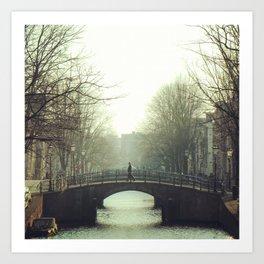 Bridging the canal Art Print